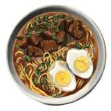 De soep van de Ramennoedel in een kom Stock Foto's