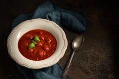 De soep van de tomaat met basilicum royalty-vrije stock foto