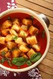 De soep van tomaten op de plaat Stock Afbeeldingen