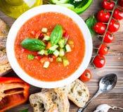 De soep van tomatengazpacho met peper Royalty-vrije Stock Foto's