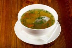De soep van vissen met forel royalty-vrije stock afbeelding