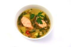 De soep van vissen met zalm Royalty-vrije Stock Afbeelding