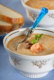 De soep van vissen met zeevruchten en brood Stock Foto
