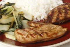 De soja gemarineerde maaltijd van de kippenborst royalty-vrije stock afbeelding