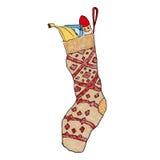 De sok van de Kerstmisgift binnen Royalty-vrije Stock Afbeeldingen