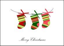 De sokkaart van Kerstmis Stock Afbeeldingen