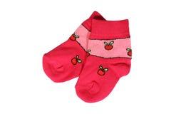 De sokken van de rode baby royalty-vrije stock foto's