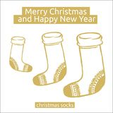 De sokken van Kerstmis Hand-drawn ontwerpelement Royalty-vrije Stock Afbeeldingen