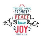De, som främjar fred, har glädje royaltyfri illustrationer