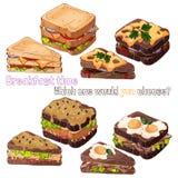 De soorten van het sandwichesbrood vector illustratie