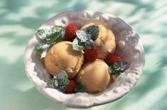 De sorbet van de abrikoos met verse frambozen Stock Foto's