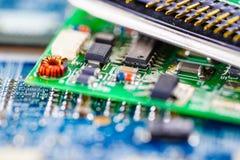 De spaander van de computerkring cpu mainboard boort het apparaat van de bewerkerelektronika uit: concept gegevens, hardware royalty-vrije stock foto