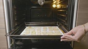 De spaanderkoekjes op bakselpan heet uit de oven sluiten omhoog Vrouw die een koekjesdienblad met eigengemaakte koekjes voor baks royalty-vrije stock fotografie