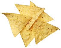 De spaanders van de tortilla die op wit worden geïsoleerdn Stock Afbeelding