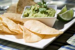 De spaanders van de tortilla en guacamole Stock Foto's
