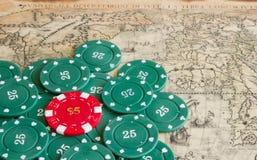 De spaanders van het casino Stock Foto's