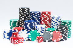 De spaanders van het casino en dobbelen Stock Fotografie