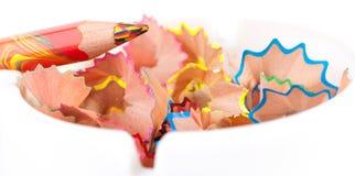 De spaanders van het kleurpotlood royalty-vrije stock afbeelding
