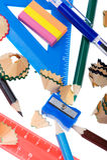 De spaanders van het potlood met school plaatsen dicht omhoog Stock Afbeeldingen