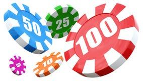 De spaanderstapels van het casino over witte achtergrond. 3D geef illustratie terug. Vector Illustratie