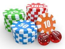 De spaanderstapels van het casino over witte achtergrond. 3D geef illustratie terug. Stock Illustratie