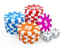 De spaanderstapels van het casino over witte achtergrond. 3D geef illustratie terug. Royalty-vrije Illustratie