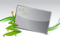 De Spaanse achtergrond van de Kerstboom en van de banner Stock Afbeeldingen