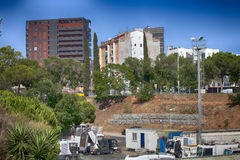 De Spaanse bouwvakkers, construeren een majoor bouwen stock foto