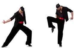De Spaanse danser in divers stelt op wit Stock Fotografie