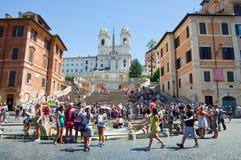 De Spaanse die Stappen, van Piazza Di Spagna op 6 Augustus, 2013 in Rome, Italië worden gezien. Stock Afbeeldingen