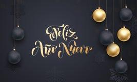 De Spaanse groet van het de decoratie gouden ornament van Nieuwjaarfeliz ano nuevo royalty-vrije illustratie