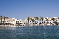 De Spaanse haven van Fornells Stock Afbeelding