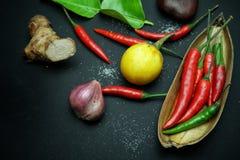 De Spaanse peper met gember met aubergines met Thaise ui met kaffirkalk doorbladert met houten lepel op zwarte achtergrond Royalty-vrije Stock Foto's