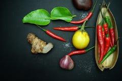 De Spaanse peper met gember met aubergines met Thaise ui met kaffirkalk doorbladert met houten lepel op zwarte achtergrond Stock Foto
