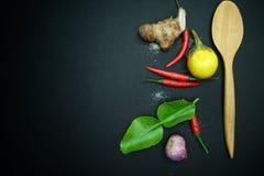 De Spaanse peper met gember met aubergines met Thaise ui met kaffirkalk doorbladert met houten lepel op zwarte achtergrond met ju Stock Afbeeldingen