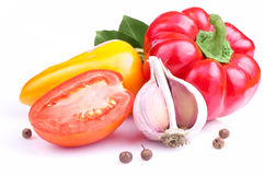 De Spaanse peper van de klok, gele paprica, knoflook, tomaat Royalty-vrije Stock Afbeelding