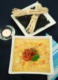 De Spaanse peper van het capsicum en de Vissoep van het Graan stock fotografie