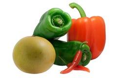 De Spaanse pepers van de paprika, van de Groene paprika en van de grapefruit stock foto's