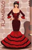 De Spaanse prentbriefkaar van het flamencomeisje Royalty-vrije Stock Afbeeldingen