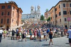 De Spaanse Stappen van Piazza Di Spagna op 6 Augustus, 2013 in Rome, Italië. Stock Foto's