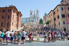 De Spaanse Stappen van Piazza Di Spagna op 6 Augustus, 2013 in Rome, Italië. Stock Afbeeldingen