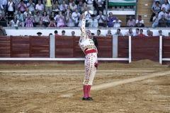 De Spaanse stierenvechter Juan Jose Padilla met het rechtse hoogtepunt van zand die de dood van de grote toreador Paquirri herinne stock fotografie