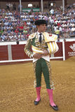 De Spaanse stierenvechter Julian Lopez El Juli bij paseillo of de aanvankelijke parade, Pozoblanco, Cordoba provincie, Spanje Royalty-vrije Stock Foto