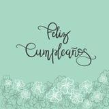 De Spaanse tekst van Feliz Cumpleanos Happy Birthday Stock Foto