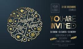 De Spaanse uitnodiging van de Nieuwjaarpartij voor het ontwerpmalplaatje van de vakantieviering Vectornieuwjaar Ano Nuevo of part vector illustratie