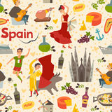 De Spaanse vectorachtergrond van het oriëntatiepuntpatroon Stock Foto's