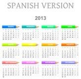 de Spaanse versie van de 2013 kleurpotlodenkalender stock illustratie