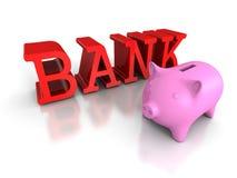 De spaarpot van het Piggymuntstuk met rood BANKwoord Bedrijfs concept Stock Afbeeldingen