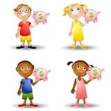 De Spaarvarkens van de Holding van jonge geitjes Stock Afbeeldingen