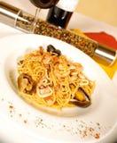 De spaghetti van zeevruchten Royalty-vrije Stock Afbeelding